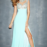 High Neck Beaded Evening Gown by Night Moves