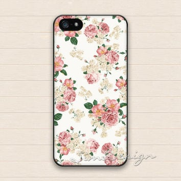 Vintage Pink Flower iPhone 5 Case,iPhone 5s Case,iPhone 4 4s Case,Samsung Galaxy S3 S4 Case,Flowers Floral Hard Plastic Rubber Cover Case