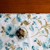 Elegant Blue Brown Floral Table Runner with Frilly