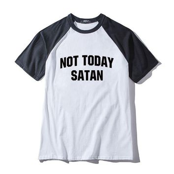 """Not Today Satan"" Unisex Raglan Tee Shirts"