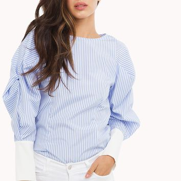 Blouse | Striped Blouse | Over sized sleeves - AKIRA