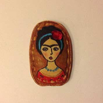 Hand painted brooch Frida brooch textile brooch Mexican painter fabric brooch art brooch stylish brooch Diego Rivera Frida Kahlo Mexican art