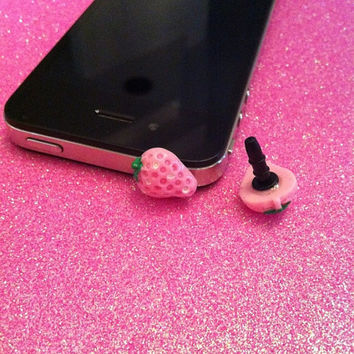 Pink Strawberry Ear Jack Plug for iPhones by JMxSweets on Etsy