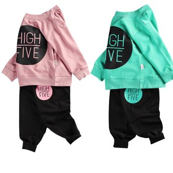 2PCS Fashion Children's Long-sleeved Sweats Set Toddler Sweater Baby Sweatsuit Outfits of Black Circle Style for Boys and Girls
