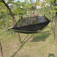 Travel Outdoor Camping Tent Hanging Hammock mosquito net Hammock Sleeping Bed Sack Army Green