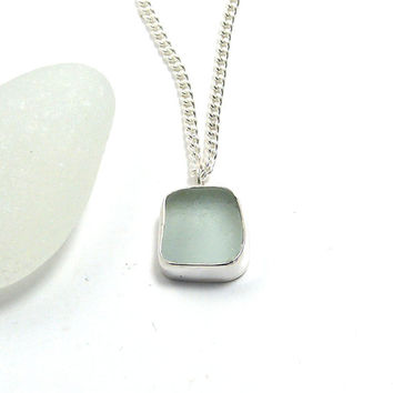 Teeny Tiny Sea Blue Sea Glass Necklace Pendant, Beach Glass Pendant, Bezel Set Pendant, LIANA