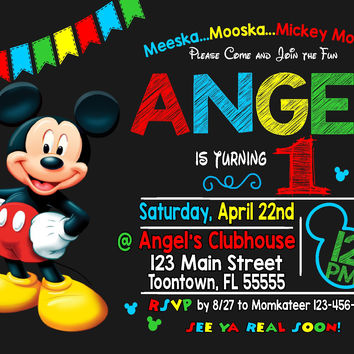 Mickey Mouse Invitation | Mickey Mouse Birthday Invitation | Mickey Mouse Invitation | Mickey Mouse Printable | Turnaround Time 12-24hr|