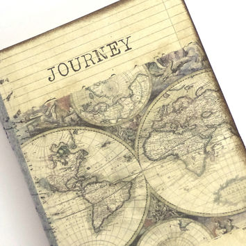 Pocket Travel Journal, World Map Journal, Mini Altered Notebook, Travel Pocketbook, Journey, Old World Map, Wanderlust