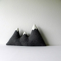 the Sisters - grey wool mountain range pillow