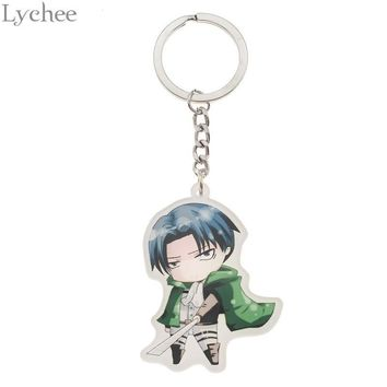 Cool Attack on Titan Lychee Trendy Acrylic  Keychain Cute Cartoon Character Key Chain Unisex Key Chains For Men Women Gifts AT_90_11