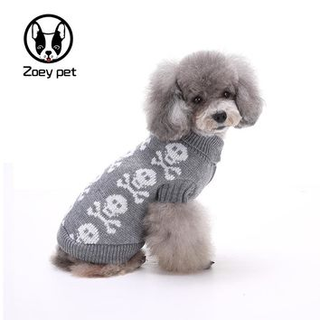 Dog sweater skull design black gray color dog clothes for autumn winter pet apparel