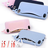 3D Cute Whale for iPhone 6 6s 4.7 5 5s SE Case Silicone Storage Back Cover Headphones Housing Card Holder