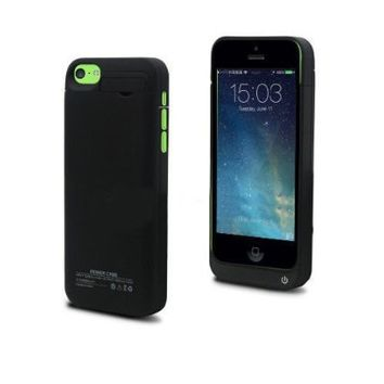 Kujian iPhone 5 5S 5C SE Slim Rechargeable Backup Charger Battery Case Portable Outdoor External Battery 2200mAh with 4 LED Lights and Built-in Kickstand Holder Support iPhone 5 5S 5C SE on iOS 8 iOS 9 (Black 2200mAh)