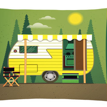 Greatest Adventure Retro Camper Canvas Fabric Decorative Pillow BB5478PW1216