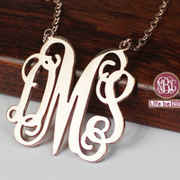 Birthday initial monogram necklace --1.25  inch plated gold/rose gold necklace or silver necklace