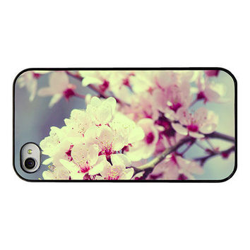 Blossom Iphone case - Pink blossom Iphone 4 and 4s case - spring - floral - flower - pink blossoms - blue pink - girly spring iphone cover