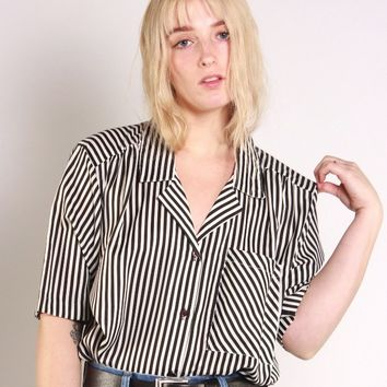 Black and White Striped Button Down / M