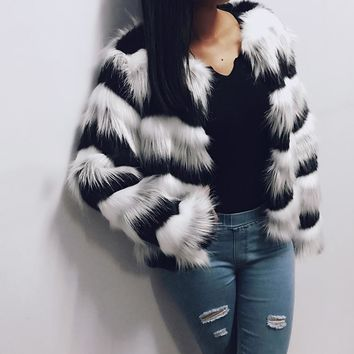 Hairy Fur Coat Stripes Womens Warm Long Sleeve O-neck Collarless Winter Outerwear Jacket Fluffy Parkas 6Q0202