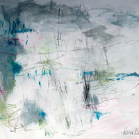 "Gestural, Intuitive Artwork, Original Work on Paper, Abstract Art, ""One Deep Breath"" 14x17"