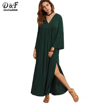Dotfashion Dark Green V Neck Flare Sleeve Split Maxi Dress Fall 2016 Female Long Sleeve Loose Straight Dress
