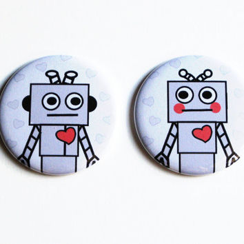 Cute Magnets Robots Grey Heart Accessories Kitchen Magnets Large Flat