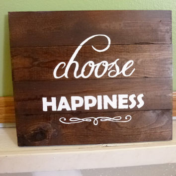 Handpainted Wood Pallet Sign with Happiness Quote