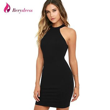 Berydress Elegant Women's Mini Dress Sexy Halter Neck Sleeveless Alluring Back Nightclub Black Lace Bodycon Faux Wrap Dresses