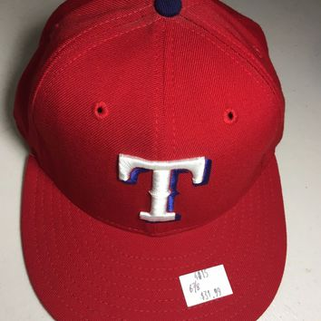 NEW ERA TEXAS RANGERS RED RETRO ONFIELD 5950 GRAY UNDERSIDE FLAT BRIM FITTED HAT