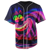 Trippy Cheshire Cat Dark Blue Button Up Baseball Jersey