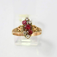 Antique Ruby Ring. Victorian 10K Rose Gold Diamond Ruby Spinel Ring. Alternative Antique Engagement Promise Ring.