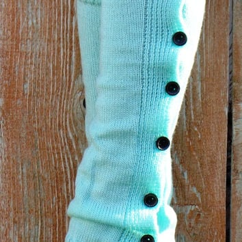 Sale Womens Legwarmers, Aqua Boot Topper, Cable Knit Boot Cuff, Lace Leg Warmers, Button Down Leg Warmers