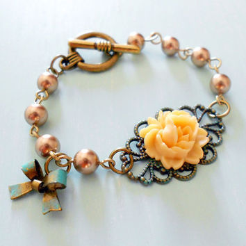 TEA at the ROSE GARDEN Vintage Inspired Shabby Chic Bracelet Ivory Rose Patina Filigree Swarovski Pearls by WilwarinDesigns