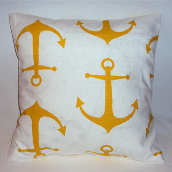 16x16 Yellow Anchor Nautical Decorative Pillow Cover