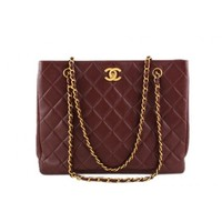 Chanel Chestnut Brown Classic Quilted Caviar Leather Shopper Tote Bag with CC Clasp