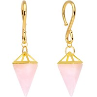 Handcrafted Gold Plated Rose Quartz Stone Pyramid Ear Weights