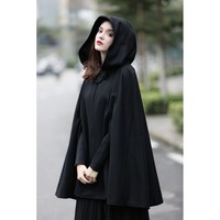 Plus Size Black Hooded Wool Cape Coat