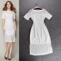 White Sheer Mesh Stripes Embroidered Lace Dress