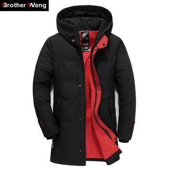 Brand Men's Clothing Winter New Down Jacket Fashion Casual Slim Hooded Thick Warm White Duck Down Long Coat Male