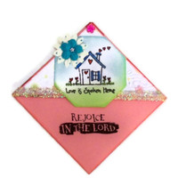 Bookmark Applique-Rejoice:  Love Is Spoken Here Corner Bookmark - Hand Stamped, Hand Painted - Handmade (Pink / Blue / Green Embossed)