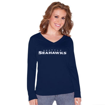 Seattle Seahawks Touch by Alyssa Milano Women's Lana V-Neck Pullover Sweatshirt – College Navy