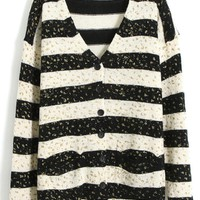 Bronzing Coarse Stripe V-neck Long Sleeve Long Section Knit Sweater,Cheap in Wendybox.com