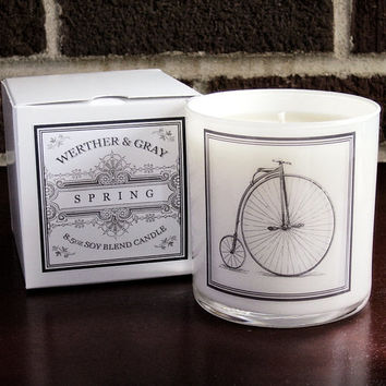 SPRING Candle with Box, 9oz Tumbler, White Lantern Series, Werther + Gray, Pennyfarthing Label, Vintage Style Soy Blend Scented Candle