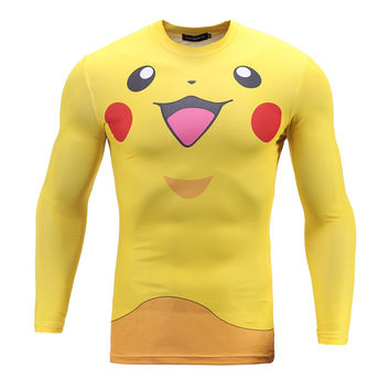 New Arrival Pokemon Go 3D T shirt Men Autumn Mens Slim Fit Long Sleeve Tee Shirt Homme Anime Fashion Cosplay Funny T shirts