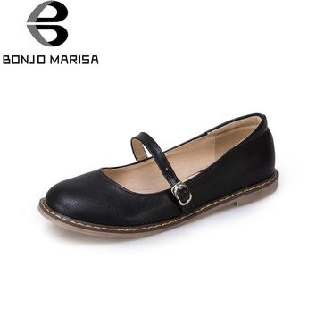 BONJOMARISA Women's Mary Jane Buckle Up Spring Shoes Woman New 2018 More Colors Flats Big Size 30-45