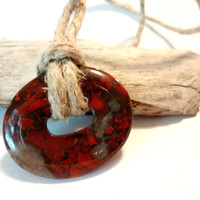 Earthy Dark Red Sea Sediment Jasper Choker Necklace, Cool Jewelry, Autumn Trends
