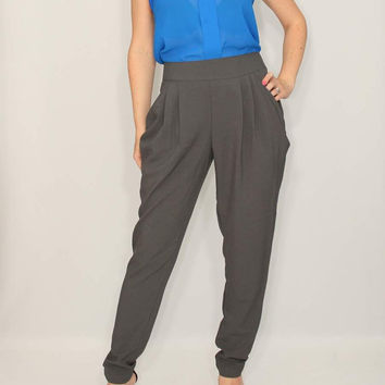 Gray Harem Pants for Women Double Draped Pockets