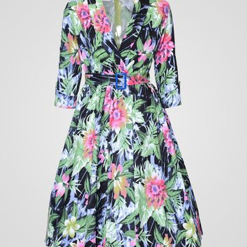 Casual Stylish Lapel Floral Printed Skater-dress