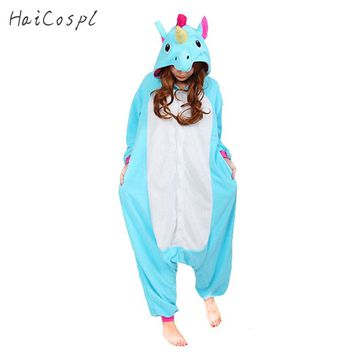 Unicorn Pajamas Women Cosplay Costume Animal Onesuit Girls Blue Pink Purple Homewear Flannel Warm Loose Soft Jumpsuit Kid & Adult