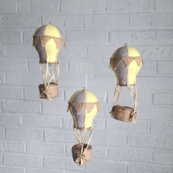Baby Mobile, Hot Air Balloon Mobile, Hot Air Balloon Decor, Travel Theme Nursery, Nursery Mobile, Crib Mobile, Burlap, Baby Shower Gift Boy