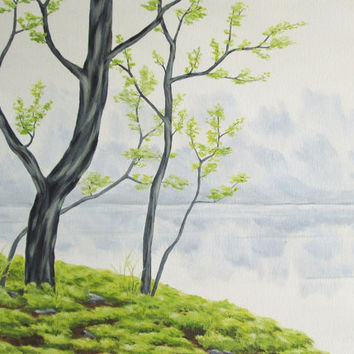 Original Landscape Painting, Green Trees and Water, Misty Morning Lake Art, Nature Fine Art, Spring Landscape Fine Art, Acrylic 18 X 24